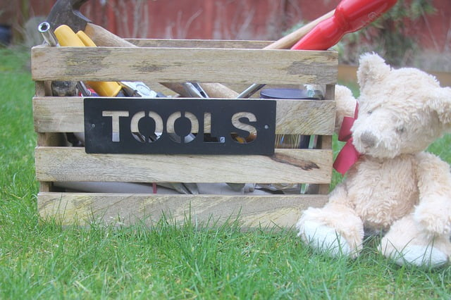 Tool Crate with Teddy Bear