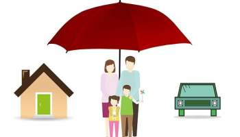 Family Under Red Umbrella with House and Car