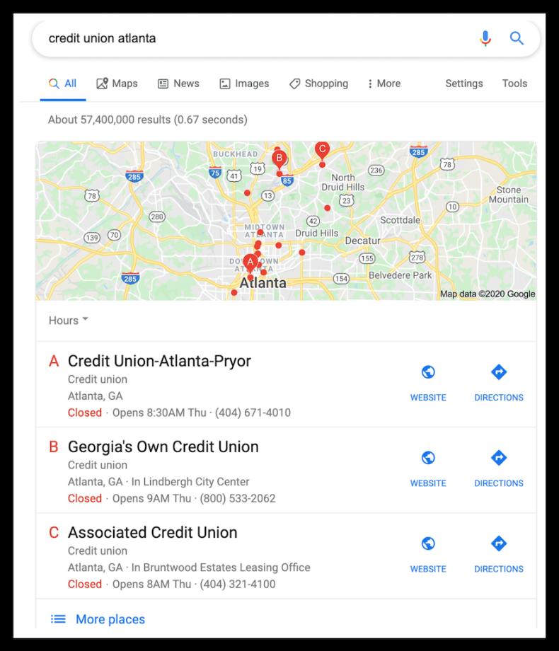 CU Atlanta SERP Map