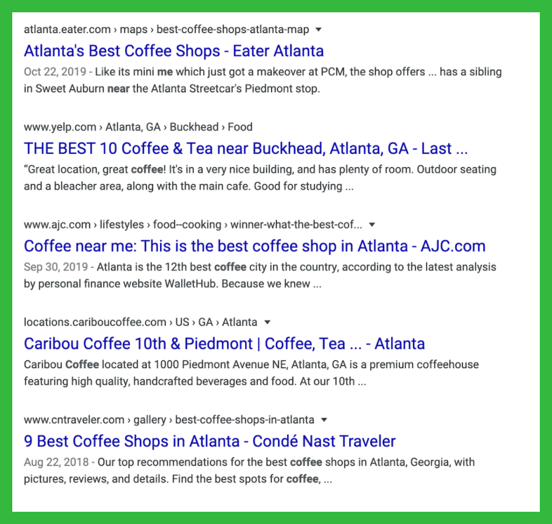 Coffee Site List Serp