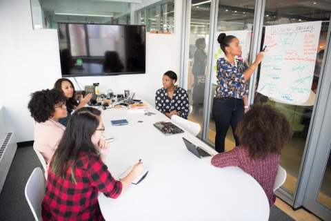 Women in Meeting Room with Whiteboard