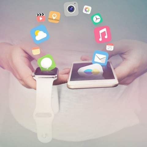 iPhone and Apple Watch with Apps Flying