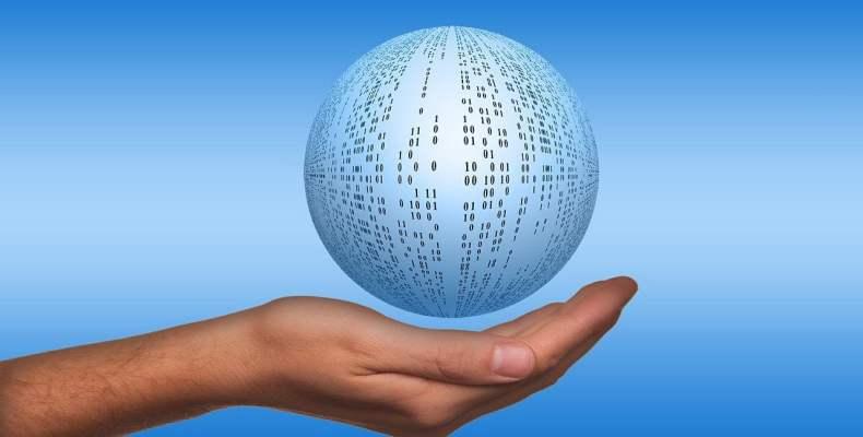Hand Holding Data Ball