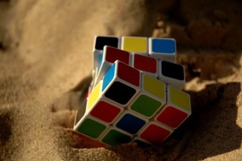 Rubik's Cube in Sand