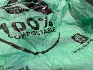Green retail compostable bags from Aldi click & collect