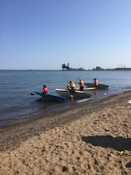 Canoing/Kayaking off Lake Erie beach, Cleveland-area