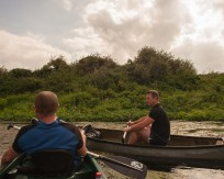 Dale & Keith rafting up on the River Stour above Fordwich, Kent, UK