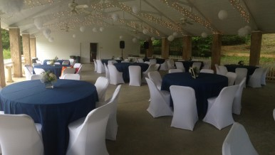 Outdoor Pavilion Setup in Blue & White Green River Plantation Wedding Reception