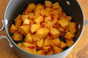 Fresh Peaches, Chopped for our Vegan Ice Cream