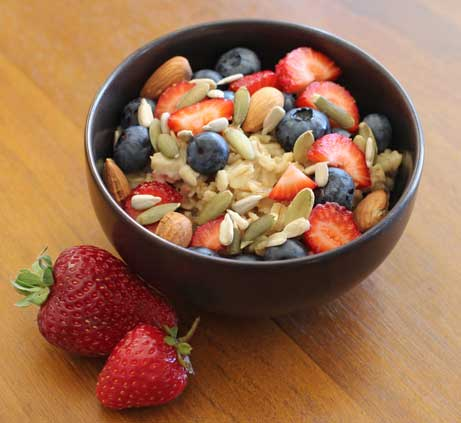 Vegan Oatmeal with Berries, Nuts & Seeds
