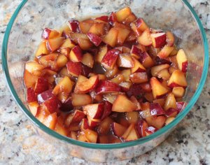 Macerated Fresh Plums, Ready for Cooking Down into a Jam