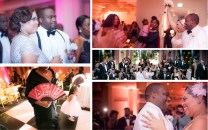 Clockwise, from top left: Porsha changed into an Art Deco gown by Adriano Patel after she tossed her garter and flower; the flower toss; the bridal party in classic black and white attire; the happy couple share a dance; one of the bride's sorority sisters
