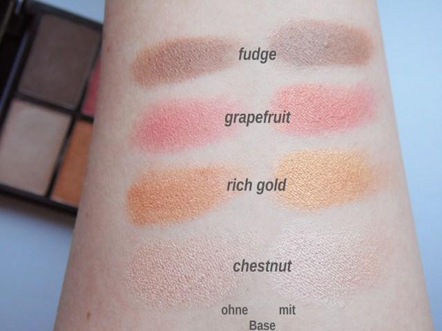Zuii Quad Eyeshadow Palette fresh swatches chestnut rich gold grapefruit fudge