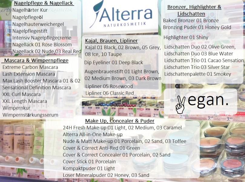 Alterra dekorative Kosmetik vegane Produkte Theke 2017