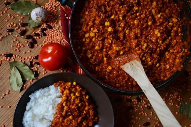 Chili sin Carne vegan Reis