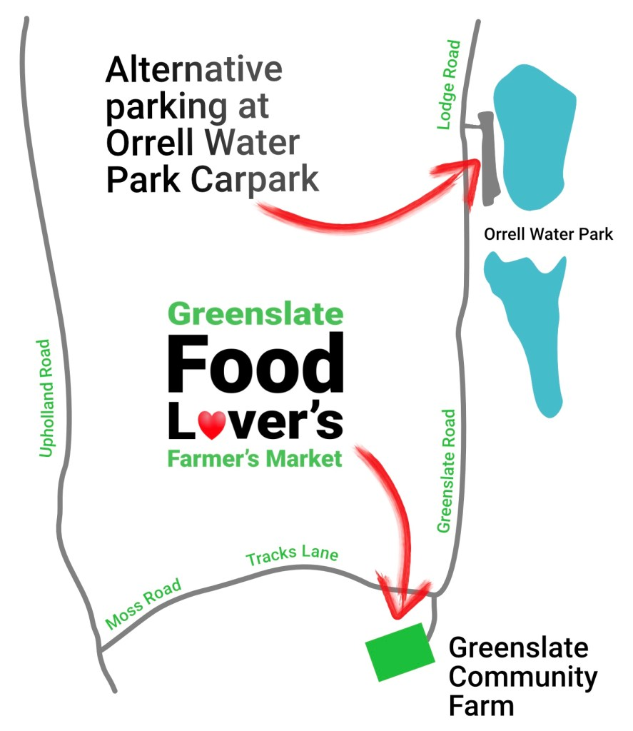 Alternative Parking Map for Greenslate Food Lovers Farmers Market