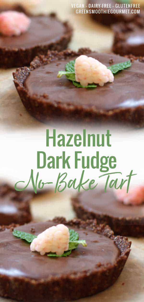 Simple Dark Fudge Hazelnut Tart (no-bake, vegan, dairy-free, gluten-free)