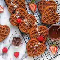 Chocolate Chunk Buckwheat Heart Waffles (vegan, gluten-free)