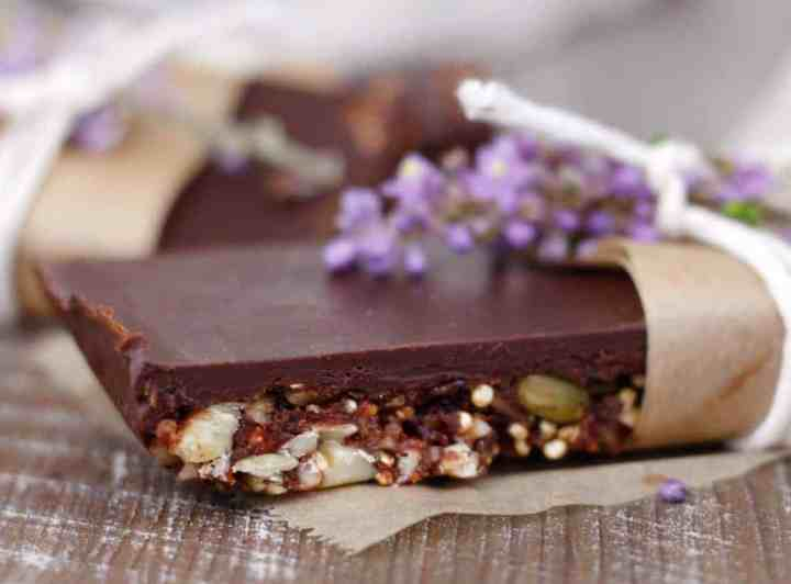 homemade protein bar on a wooden board.