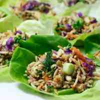 Thai Salad Lettuce Wraps with Peanut Sauce