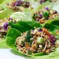 Thai Salad Lettuce Wraps with Peanut Sauce