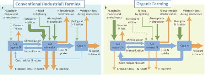 Nitrogen tracking - Organic versus Conventional - Figs from 2017 Nature Plants paper