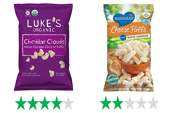 Luke's Organic Cheddar Clouds, rated 4/5 green stars, and Barbara's Cheese Puffs, rated 2/5 green stars