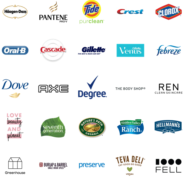 Logos for 25 brands that are featured by Loop. They include several brands owned by by P&G (Tide, Febreze, Gillette, Pantene, Crest), Unilever (Axe, Dove, Seventh Generation, Love Beauty and Planet), and Nestlé (Häagen-Dazs).