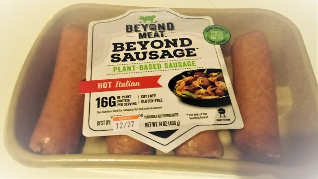 A package of plant-based sausages from Beyond Meat