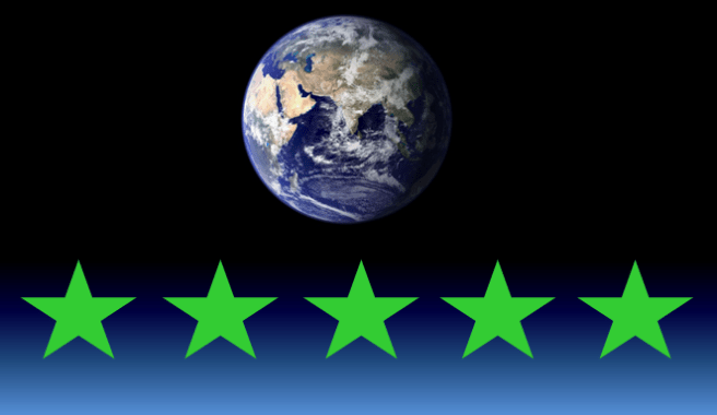 Earth seen from space, above a graphic of 5 green stars, representing an ethical score for social and environmental impact.