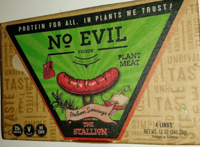 "A package of ""The Stallion"" sausages from No Evil Foods, composed of cardboard."