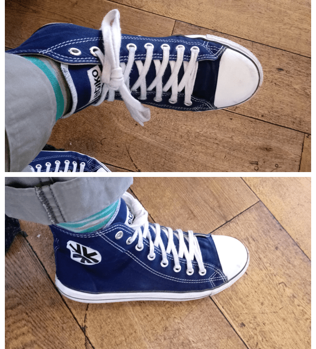 Etiko high tops canvas shoes, shown from two angles. They resemble Converse high tops but are more ethcial in that they are made in a fair trade factory from organic, fair trade cotton and FSC-certified natural rubber