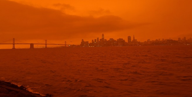 View of San Fransisco from Treasure Island on Sept 9, 2020, when the California Fires caused the light to appear orange.