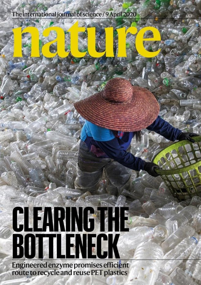 Ethical Investing – Carbios recycles polyester. Cover image of Nature journal, April 9, 2020, shows a woman sorting through a huge pile of PET plastic bottles.