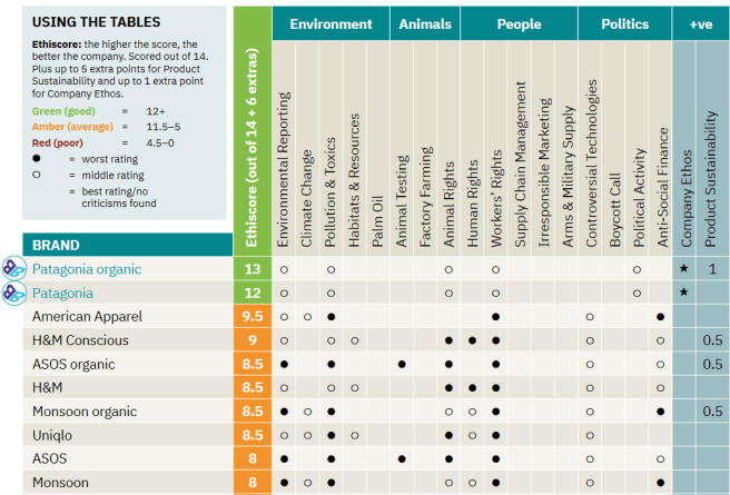 Win a subscription to Ethical Consumer. The image shows detail from a table from Ethical Consumer Magazine. The table ranks clothing brands from best to worst. The top 5 brands shown are Patagonia Organic, Patagonia, American Apparel, H&M Conscious, and ASOS organic.