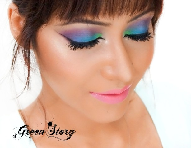 Colorful Eye makeup tutorial with blue, green and purple eyeshadow