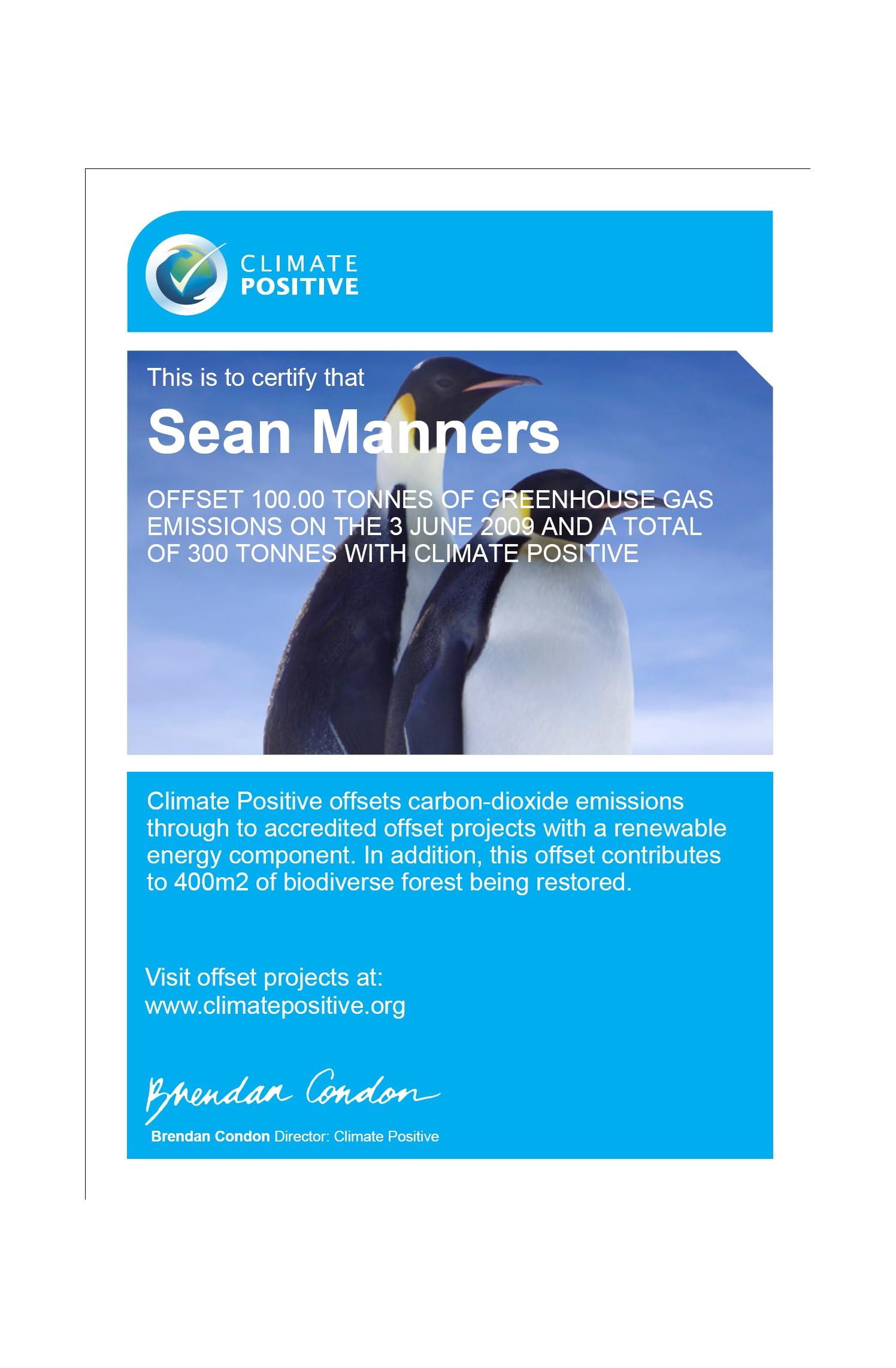 Climate Positive certificate