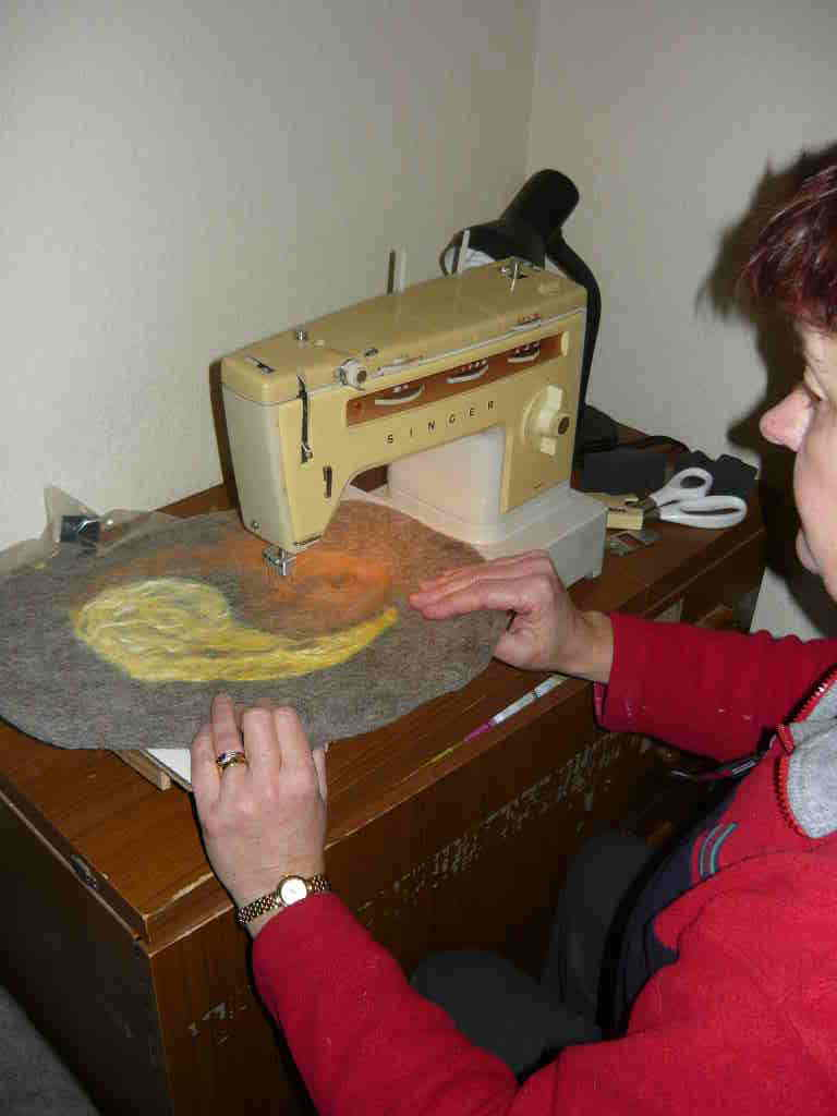 Mandy using converted sewing machine