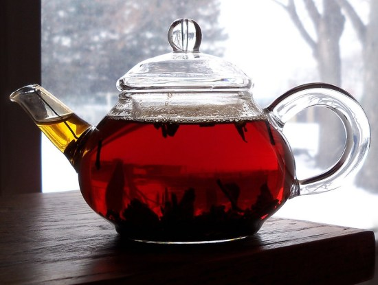 Black Tea in A See Through Tea Kettle