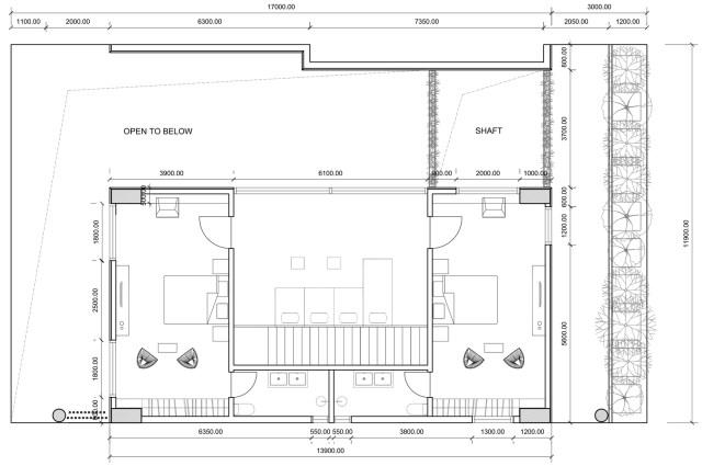 Planta do pavimento superior da unidade. As unidades têm cerca de 200m2, tirando-se a área de varanda. (Fonte: Archdaily).