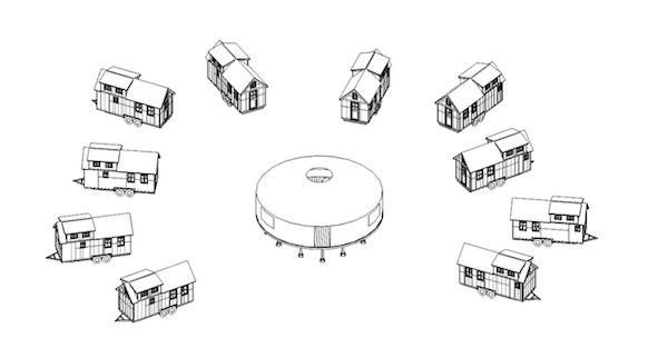 """Nos Estados Unidos, as pequenas casas móveis ainda possuem problemas em onde """"estacionar"""" seu lar. Muitos grupos adeptos ao movimento estão planejando bairros próprios. Este exemplo é de um projeto perto de São Francisco. Para mais informações, acesse o site Neighborland. (Fonte: Shareable)."""