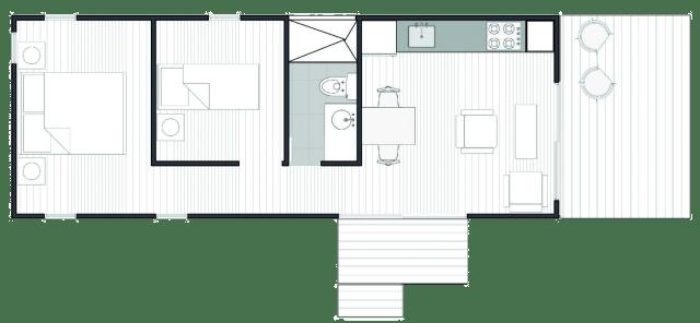 A VIMOB M, de 36 m2, possui um dormitório a mais que a Casa S. (Fonte: Colectivo Creativo).
