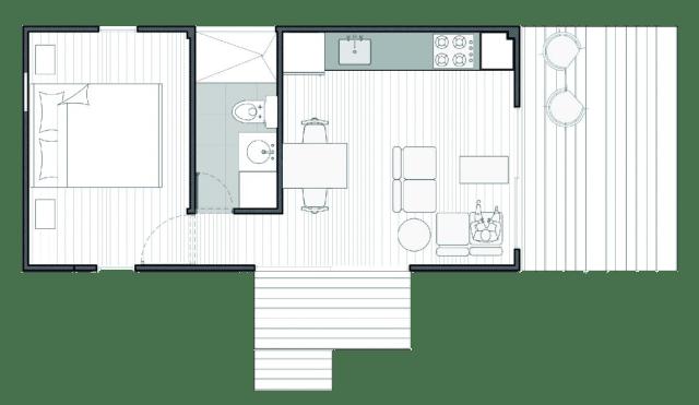 VIMOB S possui 29.5 m2, com um dormitório, um banheiro e um ambiente integrado de salas e cozinha. (Fonte: Colectivo Creativo).