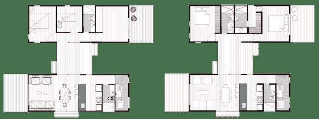Os dois modelos da VIMOB L têm 80 m2. São dois volumes maiores, conectados por um menor de acesso. O conceito integrado continua nesta proposta, com a cozinha americana e sala. Podemos ver que em ambos, há um lavabo e uma lavanderia. A diferença entre eles é que o Tipo 1, à esquerda, possui dois dormitórios compartilhando o banheiro e uma sala íntima. O Tipo 2 são duas suítes, uma delas com closet. (Fonte: Colectivo Creativo).