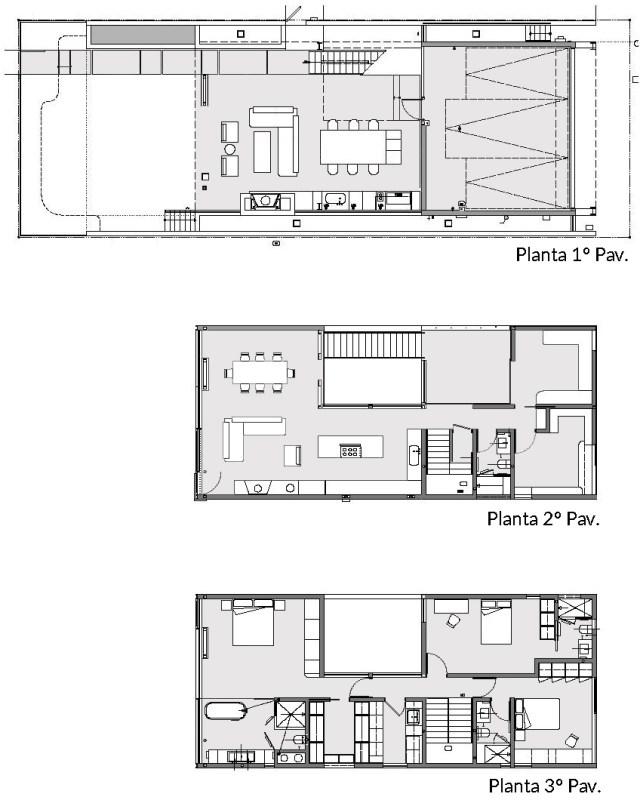 No primeiro pavimento: garagem, cozinha, sala de estar, de jantar e lareira. No segundo pavimento: salas e cozinha integradas, depósito, lavabo e escritórios. No terceiro pavimento: 3 suítes (uma com closet) e lavanderia. (Fonte: Architect's List).