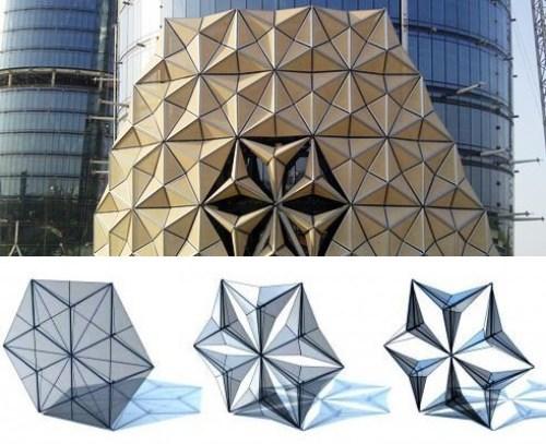 A fachada das torres Al Bahar são compostas por painéis, que se movem em resposta a exposição solar. Muito importante para a eficiência dos edifícios, uma vez que estão implantados em Abu Dhabi. Projeto por Aedas Architects. (Fonte: El Paralex).