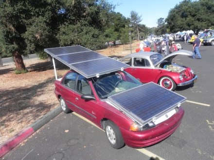 The number of solar panels required to power an electric car