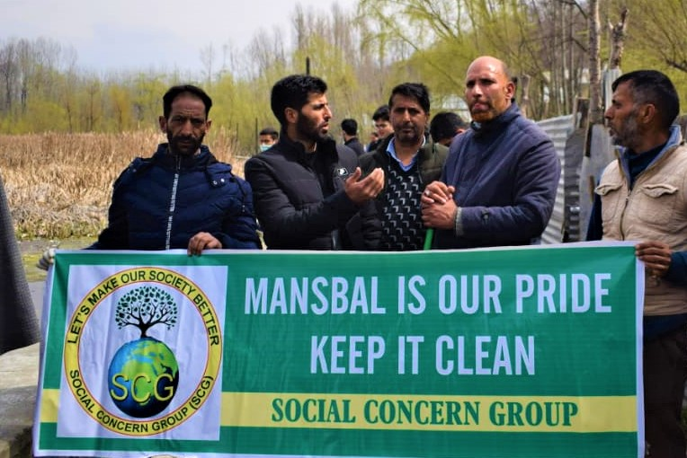 Manasbal Lake Cleanliness Drive held in Kashmir by Social Concern Group