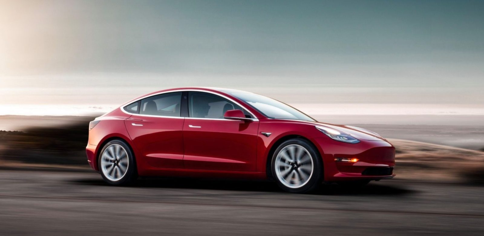 Tesla Model 3 on display