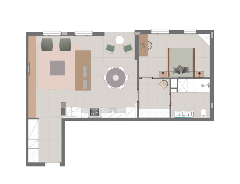 One bedroom apartment plan